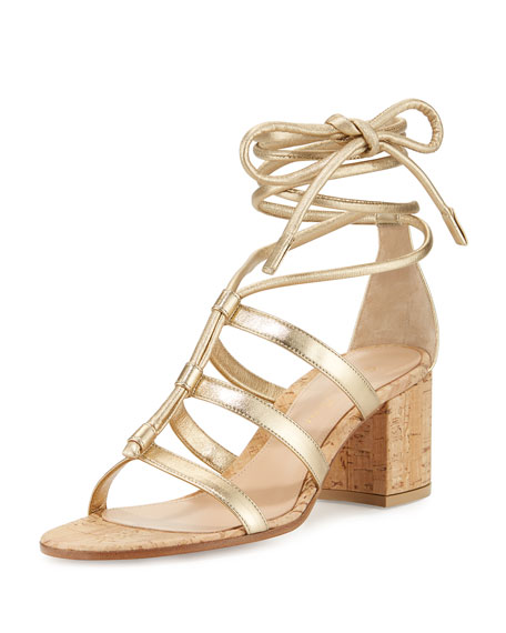 Gianvito Rossi Cayman Lace-Up Metallic 60mm Sandal, Mekong
