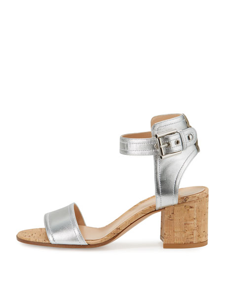 Rikki Low Metallic 60mm City Sandal, Silver