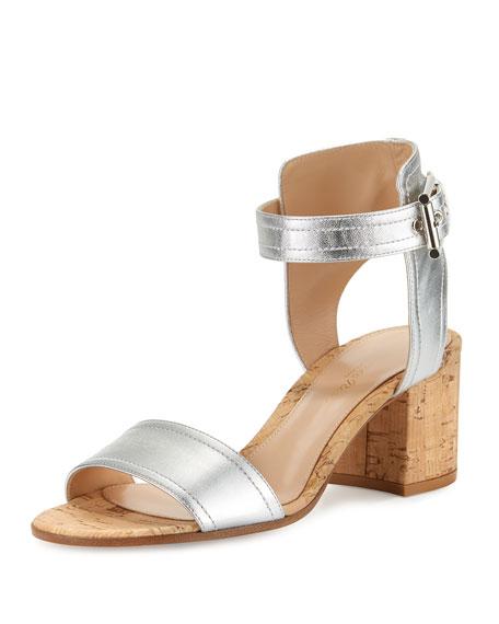 Gianvito Rossi Rikki Low Metallic 60mm City Sandal,