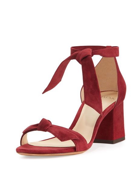 Alexandre Birman Clarita Suede 60mm City Sandal, Burgundy