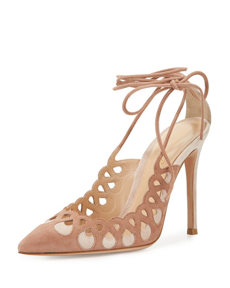 Gianvito Rossi Laser-Cut Ankle-Wrap 105mm Pump, Praline/Rosa