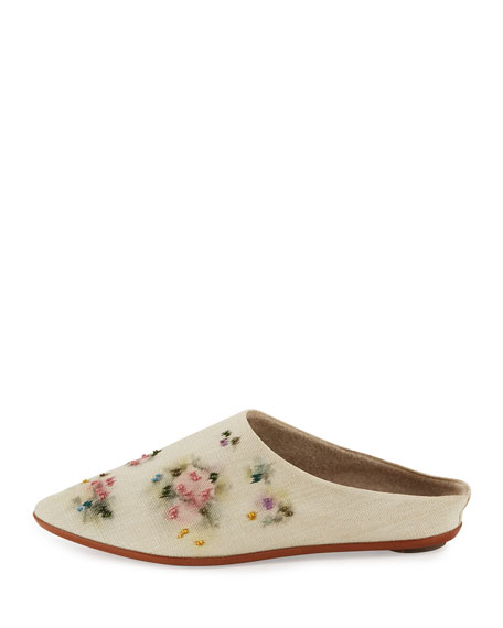 Bea Painted Canvas Slipper, Multicolor