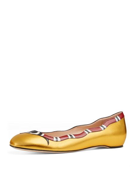 Yoko Snake-Print Ballerina Flat, Gold
