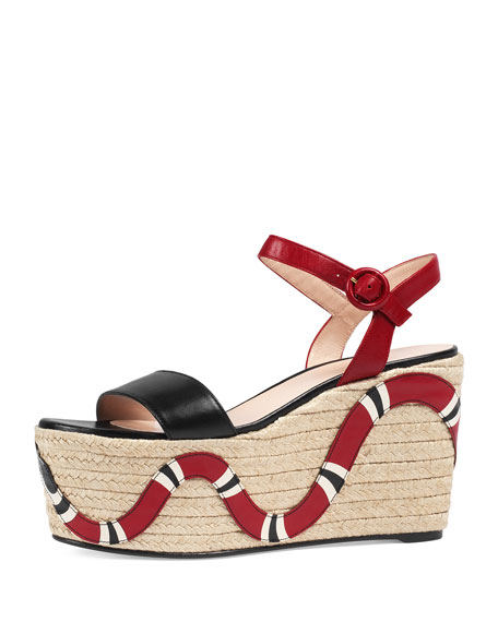Gucci Barbette Snake-Appliqué Espadrille Wedge Sandal, Black/Red