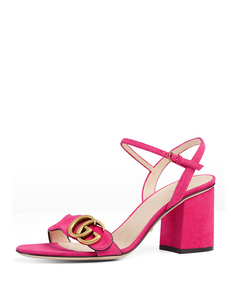 Gucci Marmont Suede 75mm Sandal, Pink