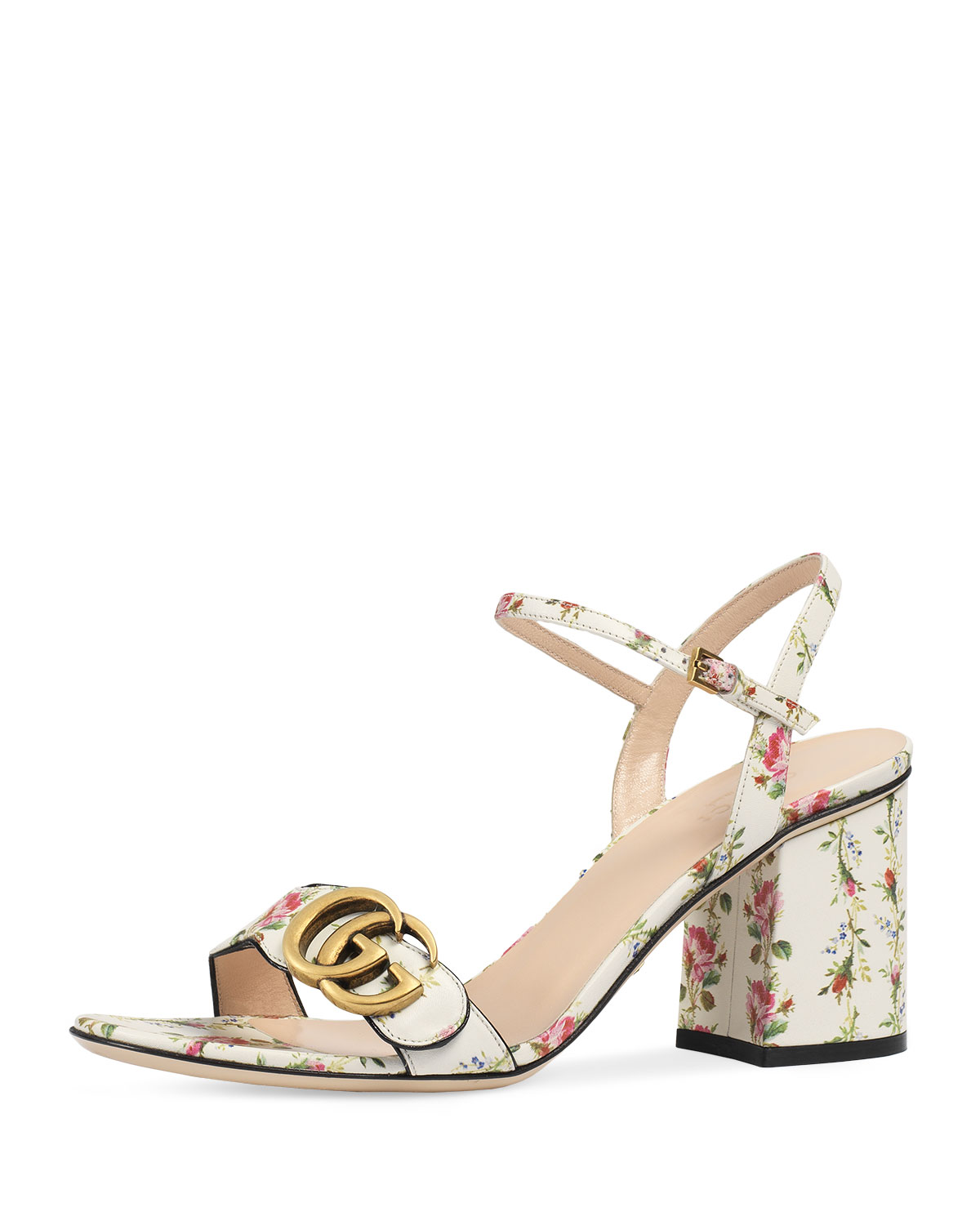 982ce8681 Gucci Marmont Rose 75mm Sandal, Floral/White | Neiman Marcus
