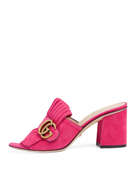 Marmont Suede 75mm Mule, Pink