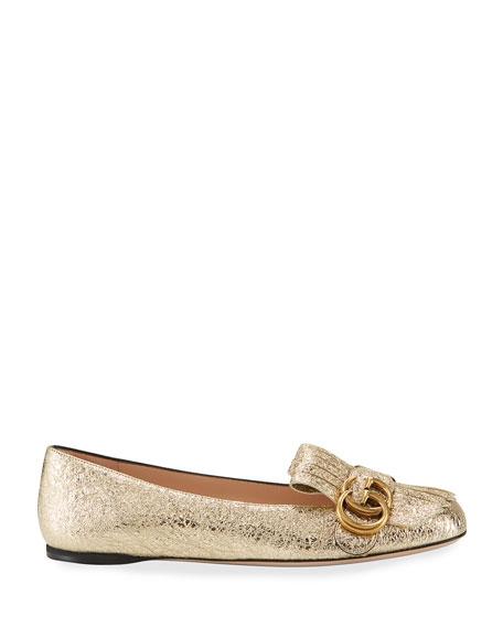Marmont Fringe Leather Ballet Flat, Gold