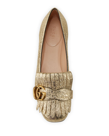 Marmont Fringe Leather Ballerina Flat, Gold