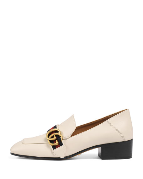 Gucci Peyton Web Square-Toe Loafer, Cream
