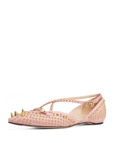 Gucci Unia Spiked Leather Flat, Perfect Pink