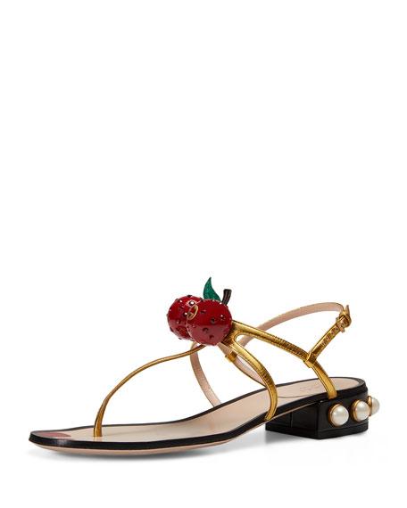 Gucci Hatsumomo Cherry T-Strap Sandal, Gold