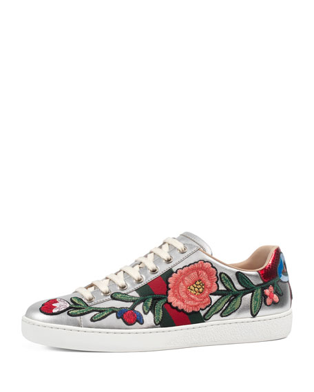 Gucci New Ace Floral Leather Sneaker, Silver