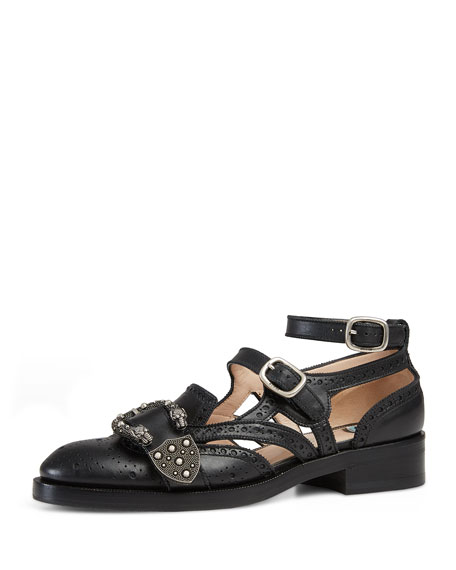 Gucci Cutout Brogue Leather Flat, Black