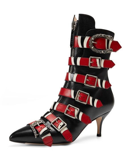 Gucci Susan Leather Buckle 65mm Bootie, Black