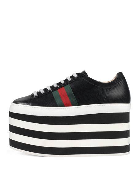 Peggy Leather Platform Sneaker, Black/White