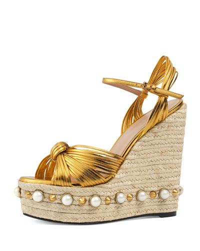 d12d63c8539 Gucci Barbette Knotted Espadrille Wedge Sandal