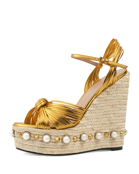 Gucci Barbette Knotted Espadrille Wedge Sandal, Gold