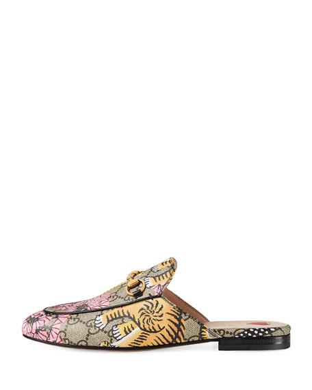 Princetown Bengal-Print Horsebit Mule, Yellow/Pink