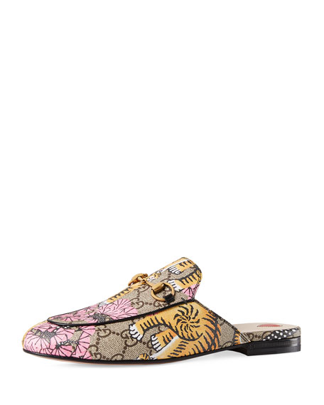 Gucci Princetown Bengal-Print Horsebit Mule, Yellow/Pink