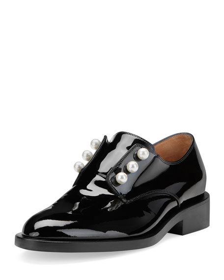 Masculine Pearly Patent Loafer, Black
