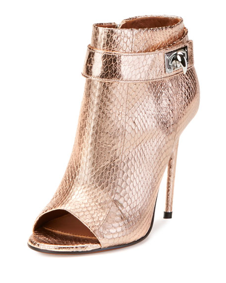 Givenchy Snakeskin Shark-Lock Open-Toe Bootie, Nude Pink