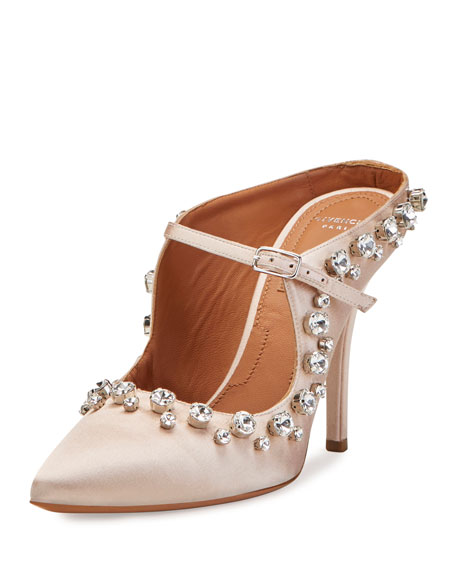 Givenchy Crystal-Trim Mary Jane 110mm Mule, Nude Pink