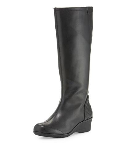 Arst Waterproof Wedge Knee Boot, Black