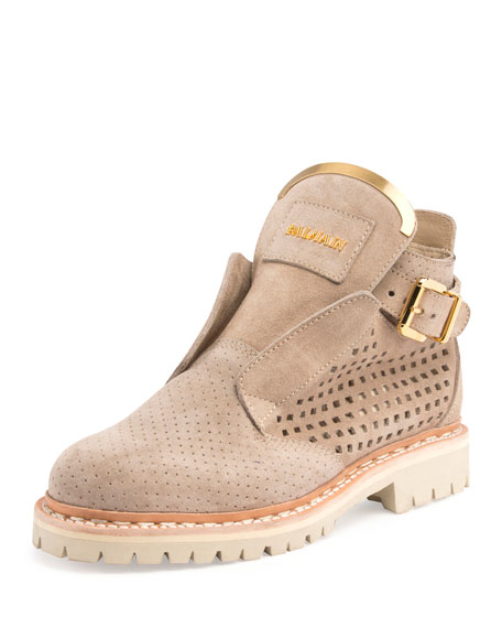 King Perforated Suede Bootie, Beige/Nude