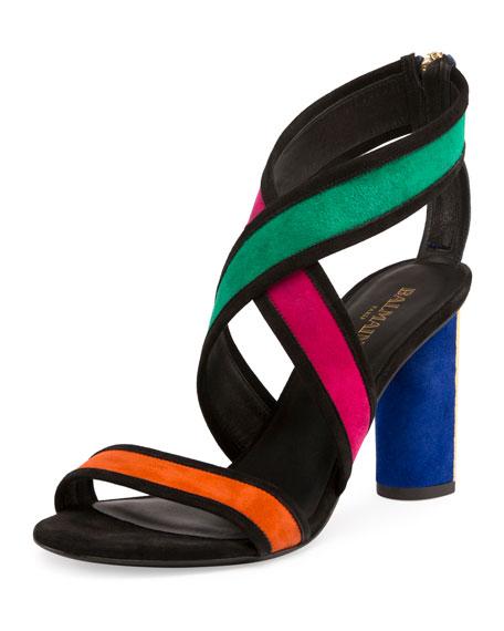 Balmain Aska Colorblock Crisscross Sandal, Multicolor