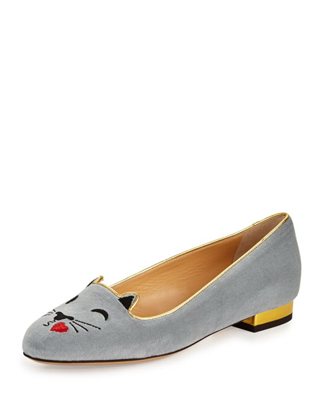 Flirty Kitty Emoji Velvet Ballerina Flat, Sky Blue