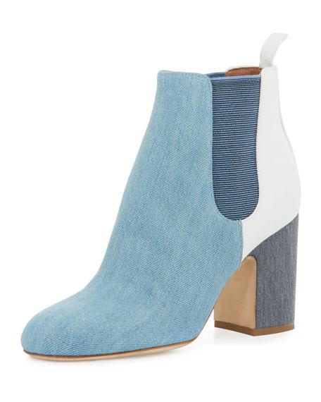 Laurence Dacade Mia Patchwork Denim 85mm Chelsea Boot, Blue