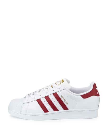 Superstar Original Fashion Sneaker, White/Burgundy