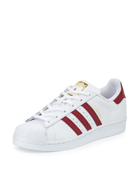 Adidas Superstar Original Fashion Sneaker, White/Burgundy