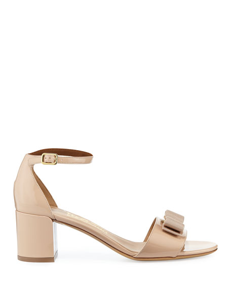 Gavina Bow Patent City Sandal, Bisque