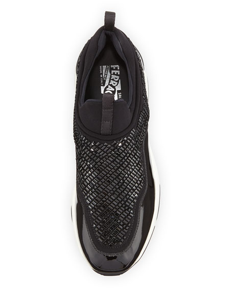 Crystal Stretch Low-Top Trainer, Nero