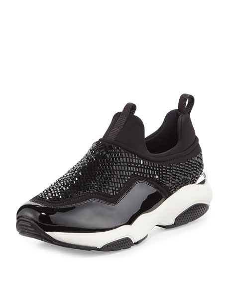 Salvatore Ferragamo Giolly Crystal Stretch Low-Top Trainer, Nero