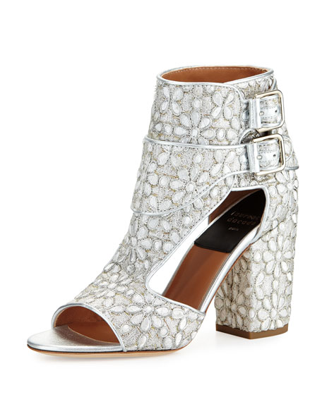 Rush Metallic Lace Sandal, Silver