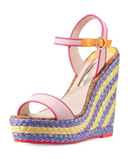 Sophia Webster Lucita Canvas Espadrille Wedge Sandal, Pastel