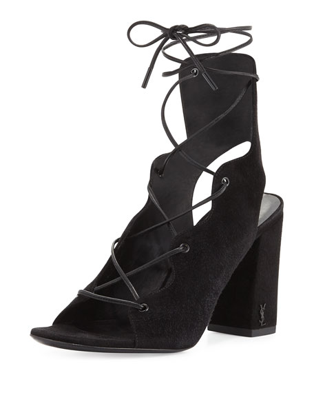 Saint Laurent Babies Suede Lace-Up 90mm Sandal, Nero