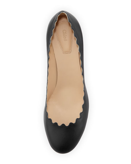 Scalloped Leather Pump, Black