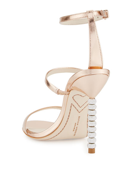 Rosalind Crystal-Heel Leather Sandals, Rose Gold