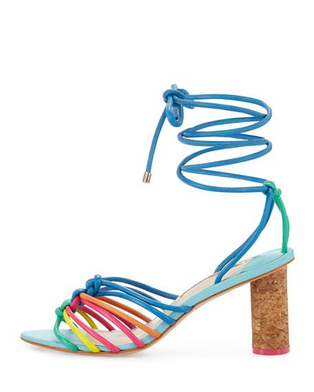 Copacabana Strappy Mid-Heel Sandal, Blue/Multi