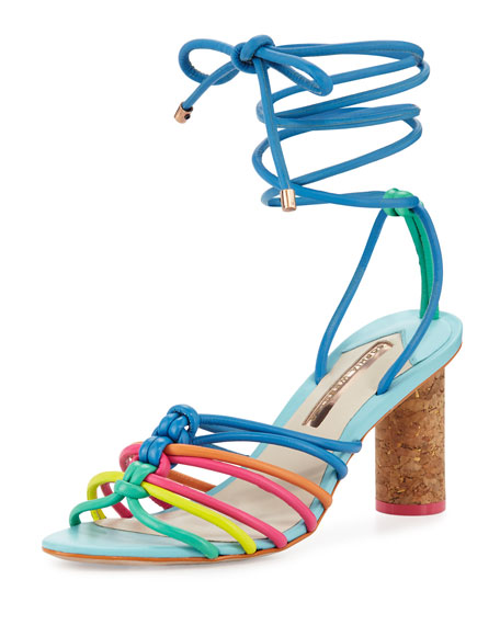 Sophia Webster Copacabana Strappy Mid-Heel Sandal, Blue/Multi