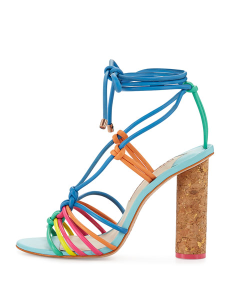 Copacabana Strappy Cork-Heel Sandal, Blue/Multi
