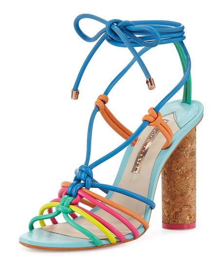 Copacabana Strappy Cork-Heel Sandal, Blue/Multi