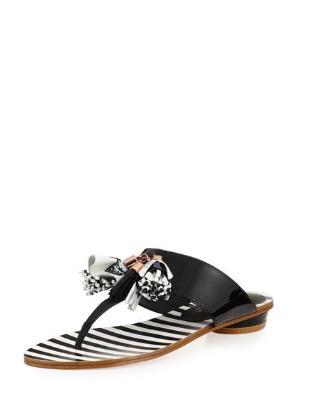 Sophia Webster Saffi Tassel Flat Thong Slide Sandal,