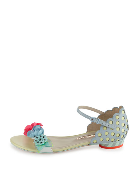 Lilico Floral Sequin Flat Sandal, Pearl Blue