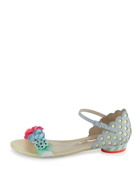 Lilico Floral Sequin Flat Sandal, Pearl Blue