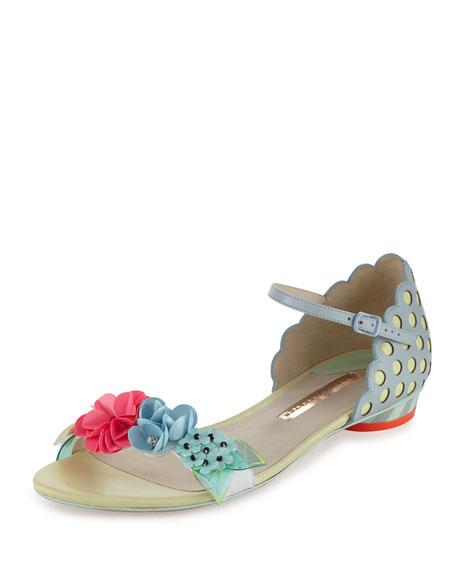 Sophia Webster Lilico Floral Sequin Flat Sandal, Pearl